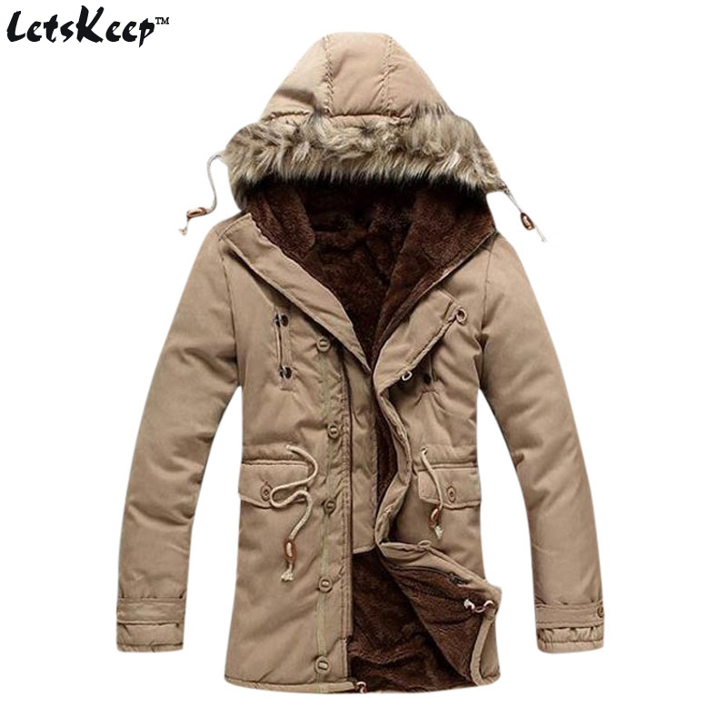Подробнее о New Letskeep 2016 mens winter hooded parka men fur collar casual long warm coat thick cotton plus size fleece jackets 3XL, MA294 men winter jacket new men warm parka thick long casual jackets men down outwear comfortable cotton hooded parka plus size m 4xl