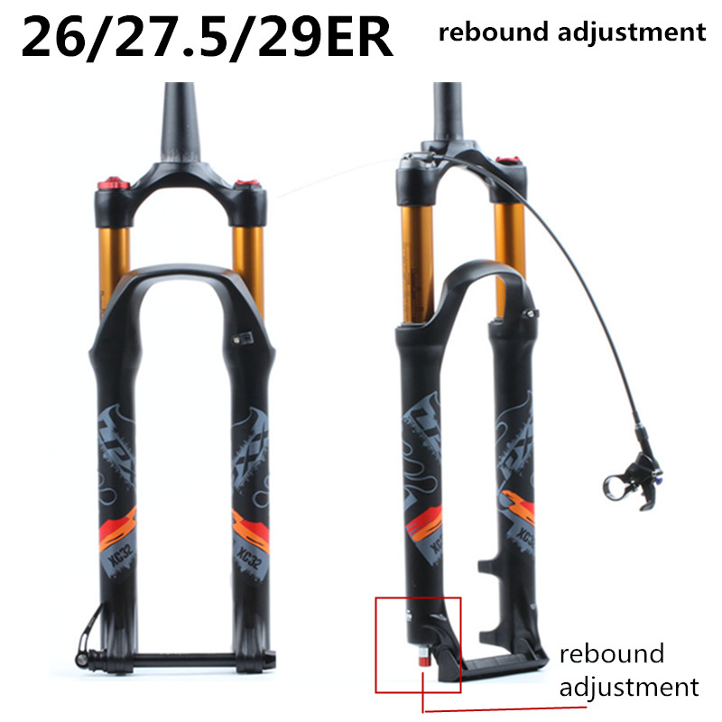 bicycle MTB Fork 26 27.5 29er Inch Suspension Fork Lock Straight Tapered Thru Axle QR Quick Release Rebound adjustmentbicycle MTB Fork 26 27.5 29er Inch Suspension Fork Lock Straight Tapered Thru Axle QR Quick Release Rebound adjustment
