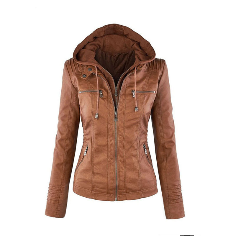 Long-sleeved Solid Color Zipper   Leather   Large Size Jacket Jacket Female Autumn 2018 New Womens   Leather   Jackets