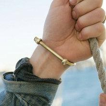 Винтажный Мужской браслет с якорем из нержавеющей стали d образные