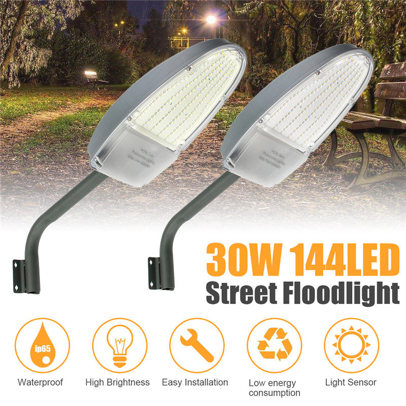 30W LED Road Street Flood Light Garden Lamp Outdoor Yard LED Security + Mounting Arm White/Warm White IP65 Light Sensor Control