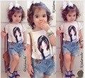 Новое поступление девочку одежды комплект мода хлопок печатных Shortsleeve футболки и короткие джинсы девушки одежда свободного покроя костюмы