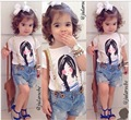 New Arrived Summer Baby Girl Clothing Sets Fashion Cotton Printed Shortsleeve T-shirt and Short Jeans Girls Clothes Casual Suits