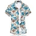 Nova Moda Dos Homens Camisa Da Flor do Estilo Chinês de Manga Curta Floral camisa Dos Homens Casual Slim Fit Camisas De Algodão Mercerizado Plus Size 6xl
