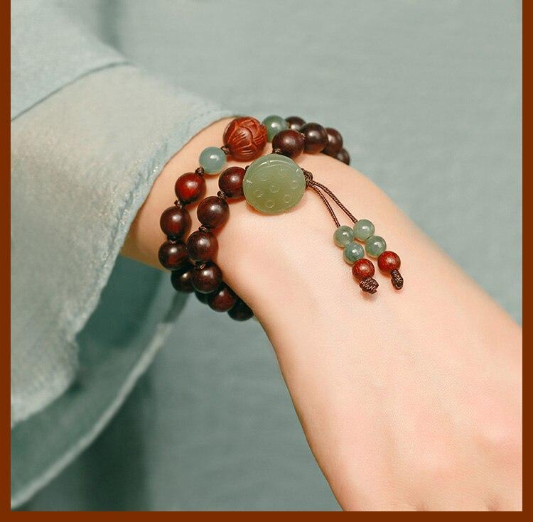 Grânulos redsândalo artesanal pulseira lótus frisado envoltório pulseira boa sorte pulseira senhora jóias presente - 3