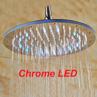 Polished Chrome LED Round Rain Shower Head Wall Ceiling Mounted Shower Head