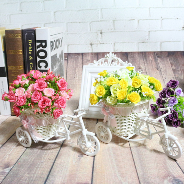 Rattan Tricycle Bike Flowers Basket Plant Vase Container Home Garden