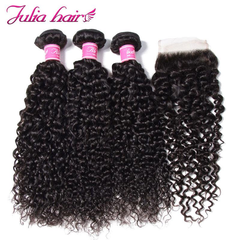 Ali Julia Hair Malaysian Curly Weave Human Hair Bundles With Closure 3 Bundles and 1 Closure