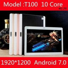 10 pulgadas Android 7.0 tablet Pc 4G LTE FDD Deca Núcleo 10 Núcleos 1920×1200 IPS Tablets 10.1 Tablet pc 4 GB RAM 64 GB ROM