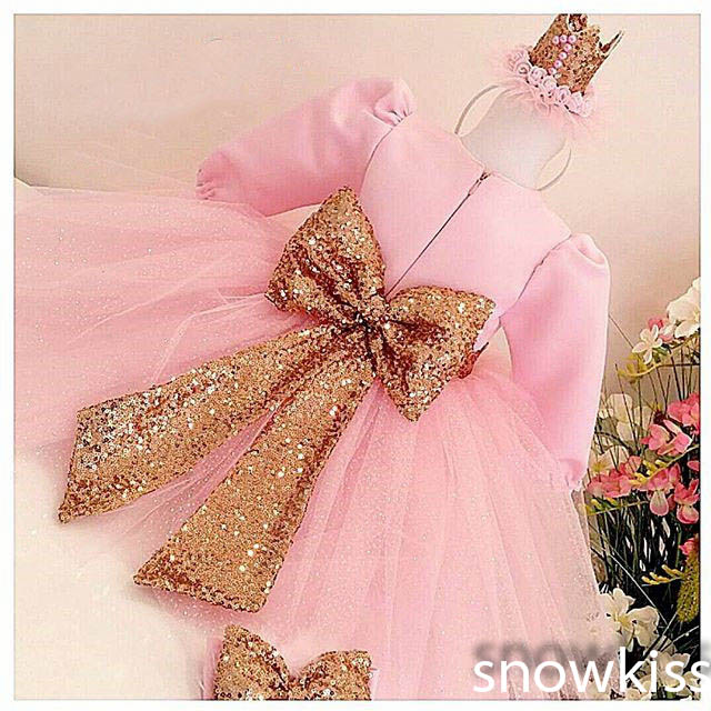 Long Sleeves Blush Pink flower girl dresses with golden sequins Bow baby Birthday Party Dress toddler girl pageant holiday gowns цена