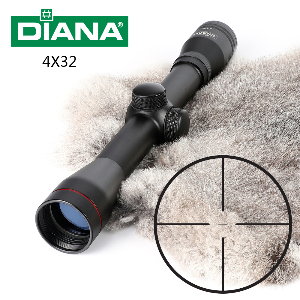 DIANA 4X32 Hunting Optics Riflescopes One Tube Glass Double Crosshair Etched Reticle Optical Sight Rifle Scope Free Shipping tactical diana 4x32 riflescope one tube glass double crosshair reticle optical sight rifle scope