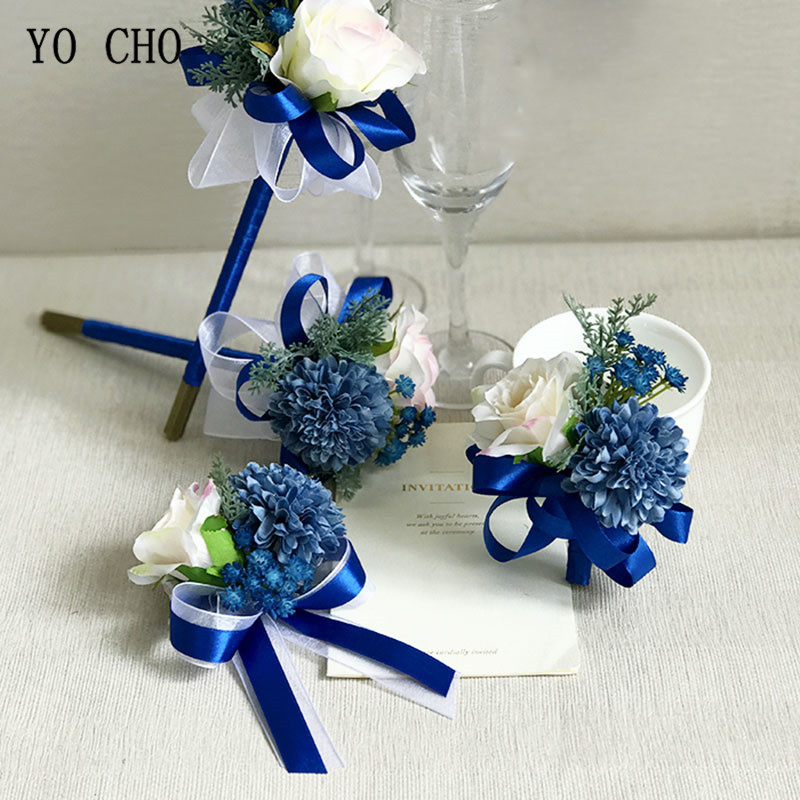 YO CHO Wedding Accessories Wrist Corsage Ribbon Roses White Pink Blue Wrist Corsage Bridesmaids Bracelet Bridal Wedding Supplies