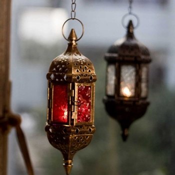 PINNY Moroccan Style Iron Candle Holder Lantern European Classical Metal Candle Holders Home Decorative Candles Glass Tealight