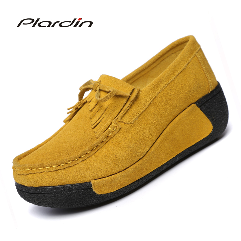 Plardin Women Flats Platform Shoes   Suede     Leather   fringe Sewing Women Moccasins Creepers Slipony Female Casual Ladies Shoes