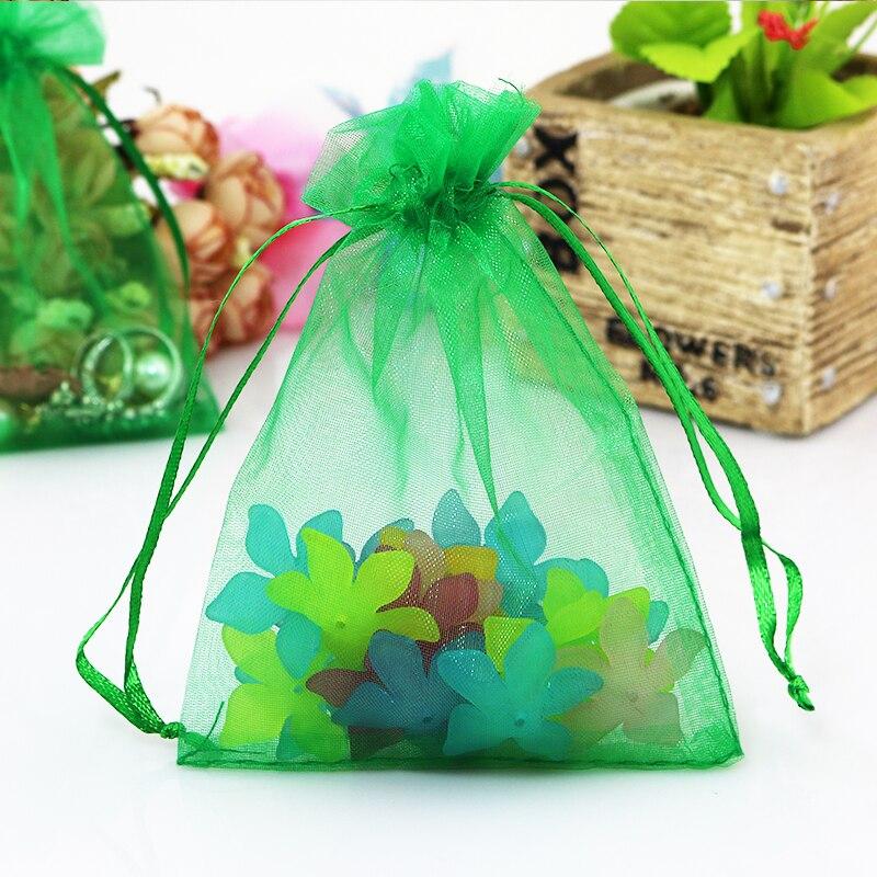 ce3687147 13x18 cm joyería embalaje Bolsas drawable organza Bolsas organza bolsa  regalo bolsa 500 unids verde oscuro