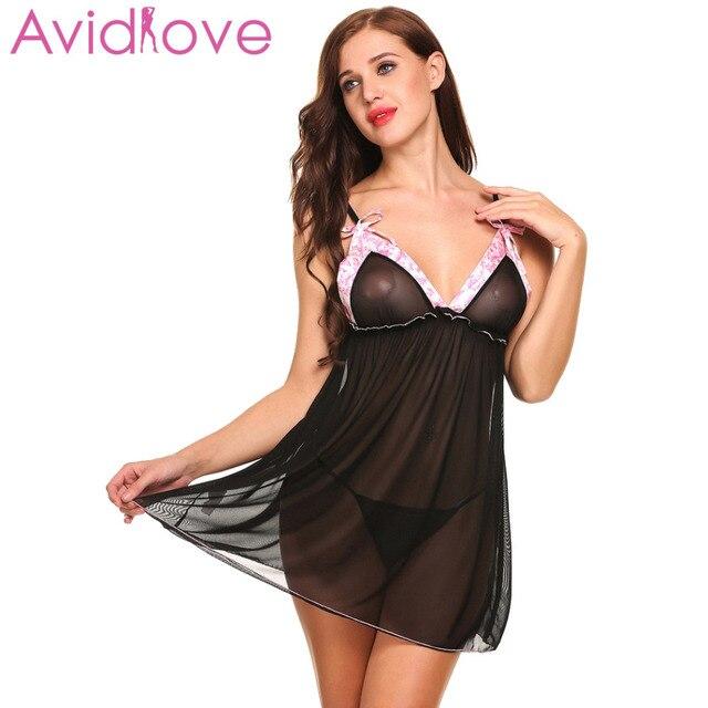 Avidlove Sexo Ropa Interior Lenceria Sexy Hot Erotic Babydoll Vestido Mujer Sheer Mesh Lace Ropa De