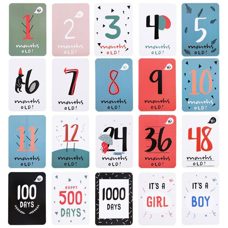 20pcs/Set Funny Baby Growth Milestone Commemorative Card Month Days Photography Props Mom & Baby Memory Week&Month Cards