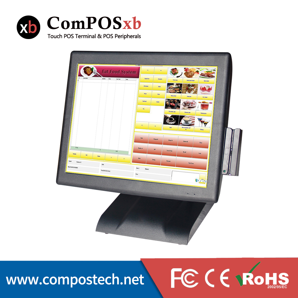 15 Inch Touch Screen LCD Monitor All in one POS Terminal with MSR/pos terminal price pos2119 15 inch tft lcd touch screen monitor core i3 touch screen pos all in one restaurant epos system with msr customer display