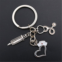 WKOUD 1pc Antique Silver Nurse Hat & Stethoscope Syringe Keychain DIY Creative Medical Staff Charm Alloy Key Chain findings