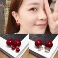 2016 Red Pearl Earrings Female Temperament Sweet Fashion Accessories Wholesale Earrings Accessories