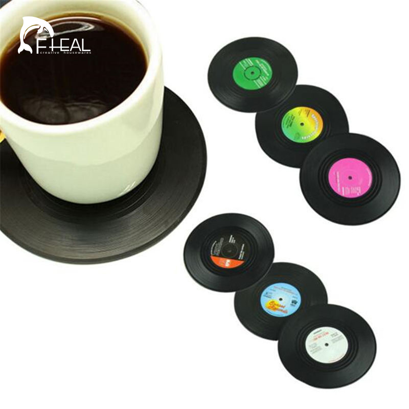 FHEAL 2016 New <font><b>6</b></font> Pcs/<font><b>set</b></font> Retro Vinyl CD Record <font><b>Drinks</b></font> <font><b>Coasters</b></font> Home Table <font><b>Cup</b></font> Mat Creative Decor Coffee Placemat Spinning