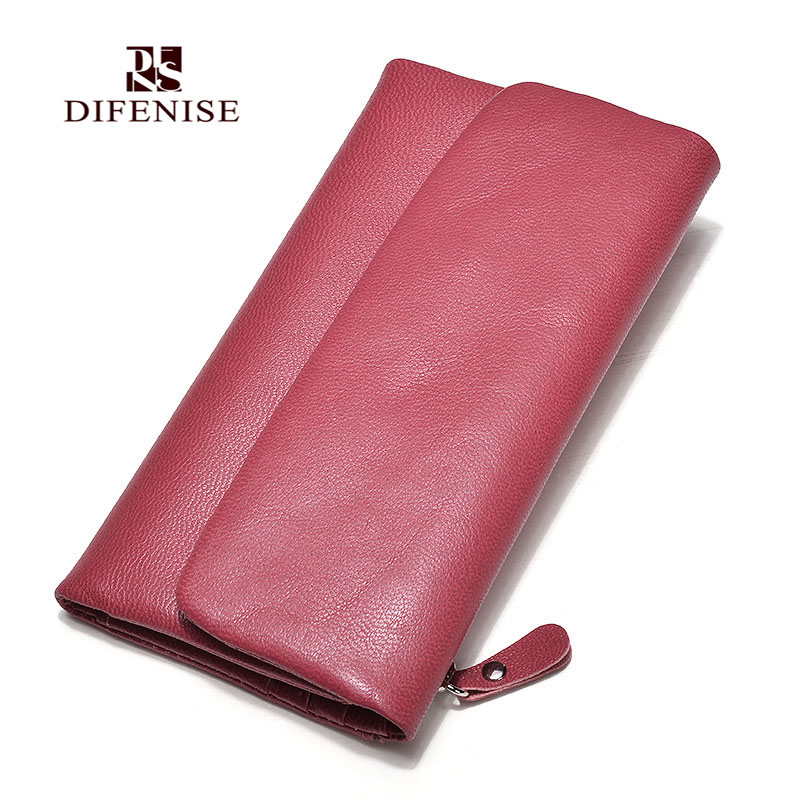Women Wallet Long Smooth Sheepskin Leather Brand New Purse ID Credit Card Holder Lady Coin Purses Clutch Wallets Women Money Bag new 2017 pink hollow leaf short wallet women wallets small purse for girls credit id card holder money coin bag christmas gifts
