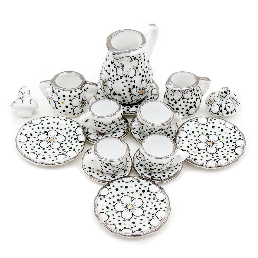Odoria 1:12 Miniature 15pcs Porcelain Tea Cup Set Chintz Flower Tableware Kitchen Dollhouse (12 Patterns for your choice)