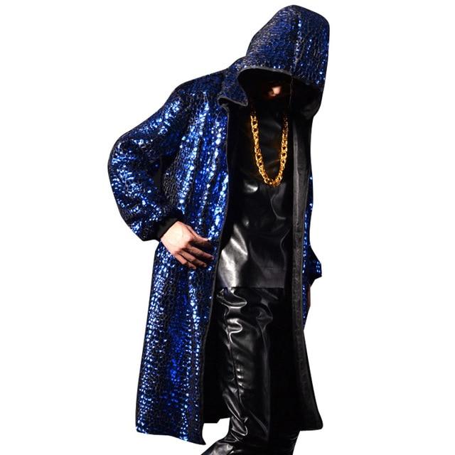 Homens trench coat com capuz homens hiphop rocha rua moda cardigan casaco longo manto jaqueta boate palco trajes punk K590
