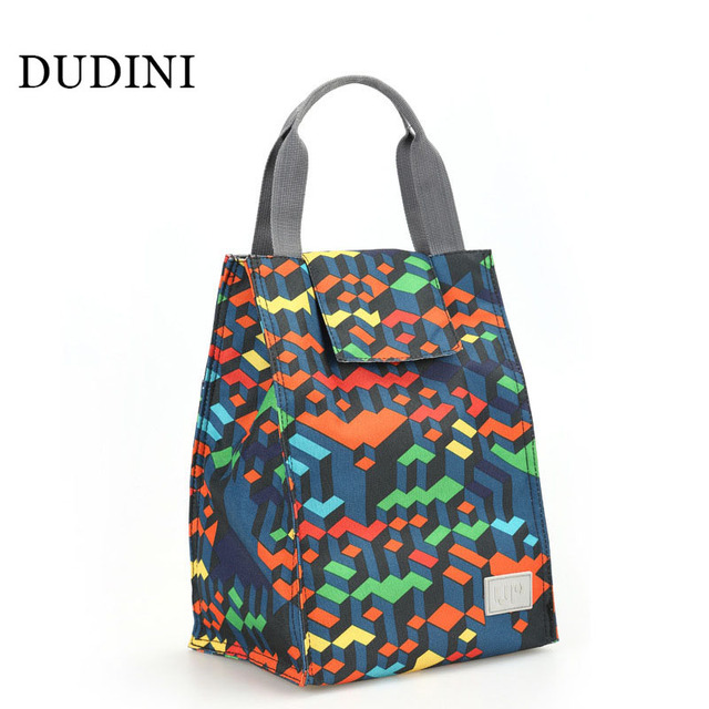 DUDINI Color Grid Pattern Lunch Bag Box For Children Portable Hand-Held Insulation Picnic Bag Large Capacity Fashion Lunch Bags