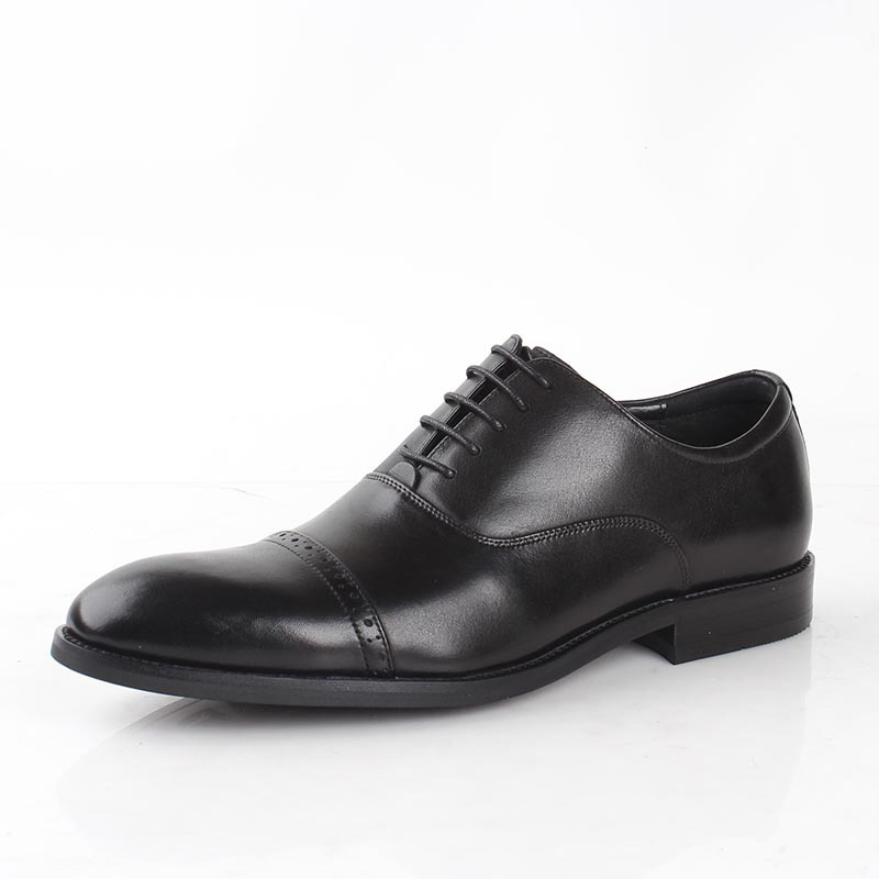 Fashion Men Fashion Round Toe Lace Up Shoe Genuine Leather Retro Business Casual Dress Shoe Fingertip Cap Wedding Shoe in Formal Shoes from Shoes
