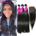 Brazilian Virgin Hair With Closure Straight Virgin Hair 3 Bundles With Closure Unprocessed Brazilian Straight Hair With Closure