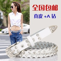 Thin Wave Rhinestone Leather Belt For Women With Crystal Cowskin Belts Genuine Real Leather Skin Straps