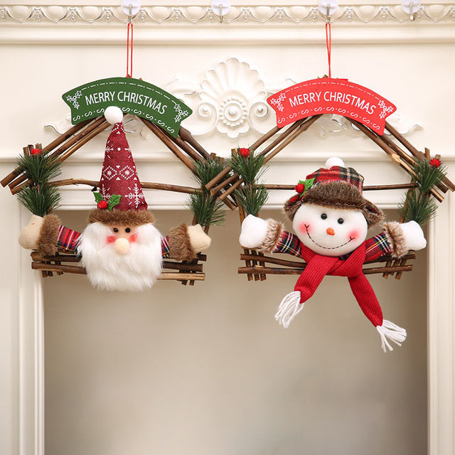 christmas snowman ornaments natural rattan wood wreath for front door hang garland with santa claus wreath holiday door fp8