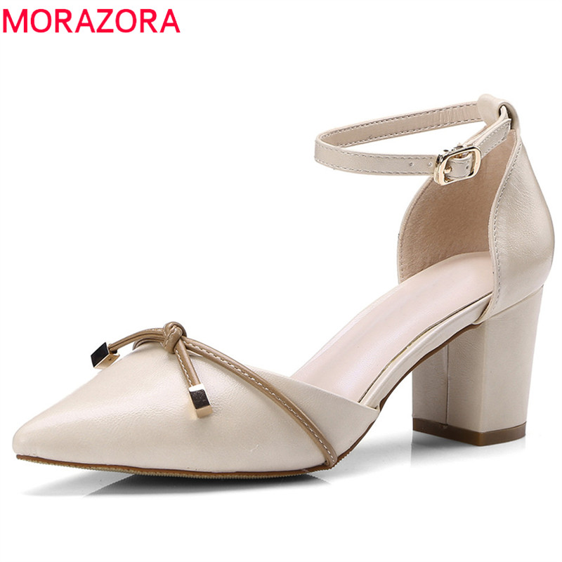 MORAZORA 2018 new arrival women pumps genuine leather summer shoes size 34-39 pointed toe fashion shoes high heels shoes woman morazora hot sale new arrival pointed toe women sandals high heels shoes woman summer shoes party sexy fashion popular