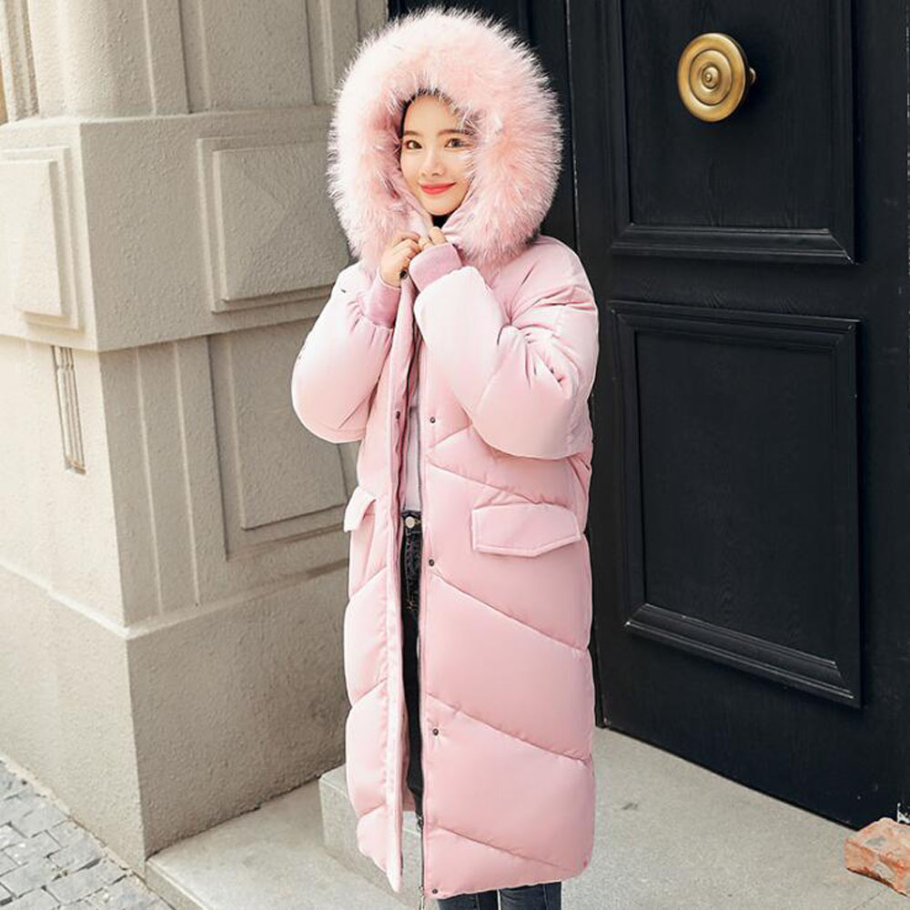 JKKUCOCO Newest Long Cotton Jacket Velvet Thick Big Pockets Women Winter Jacket Hooded Winter Coat Women