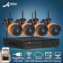 ANRAN 4CH CCTV Système Sans Fil NVR Kit 720 P HD Extérieure IR nuit Vision H.264 de Sécurité IP Caméra WIFI Système de Surveillance 1 TB HDD