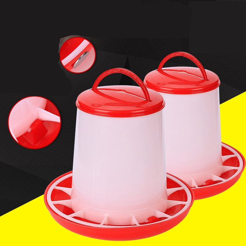 1.5kg Plastic Food Feeder Chicken Chick Hen Poultry Lid Handle Farm Animal Feeding Watering Supplies