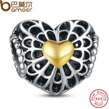 Autumn Collection 925 Sterling Silver Vintage Heart Charm with The Two-tone Charm Fit Bracelet with Gold Plated PAS004