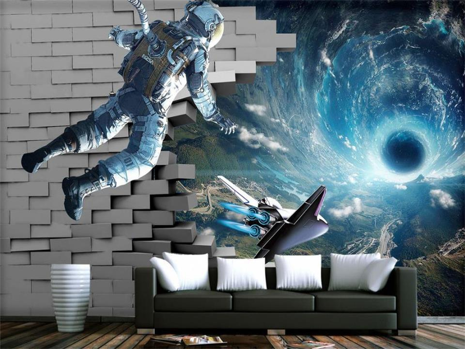 custom 3d photo wallpaper mural living room astronaut universe brick 3d painting sofa TV background wall non-woven wall sticker custom 3d photos non woven mural wallpaper 3d living room bedroom sofa tv background wallpaper mural blue rose brick wall