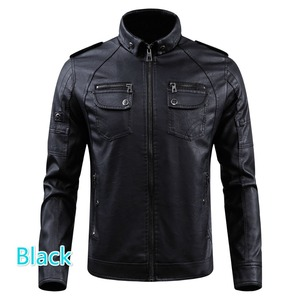 Image 4 - Men PU Leather Jacket 2020 New Autumn Winter Mens Thick Casual Warm Stand Collar Zipper Coats Male Fashion Motorcycle Jackets
