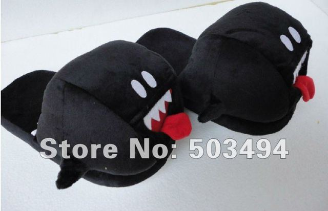 Free shipping EMS 40/ LOT Super Mario Bros Black Boo Ghost Slippers
