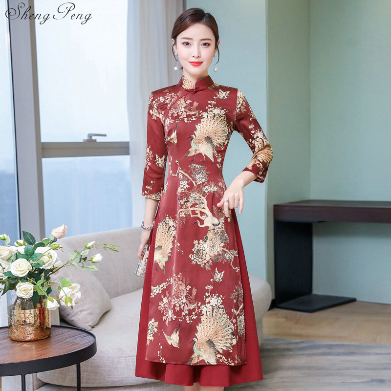 2019 New Vietnam Ao Dai Vintage Ethnic Long Gown Women Graceful Clothing Oriental Dress Improved Cheongsam V1545