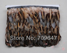 Wholesale!Ringneck Pheasant Plumage Feather Fringe Natural Colour 10 yards trim Height5-6CM freeshipping