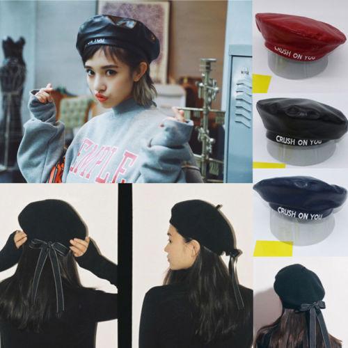 22018 nueva moda señoras de las mujeres de la PU boina Harajuku lana boina  vasca sombrero con bowknot Negro Azul Marino rojo caliente en Boinas de ... 03dfc280a2e