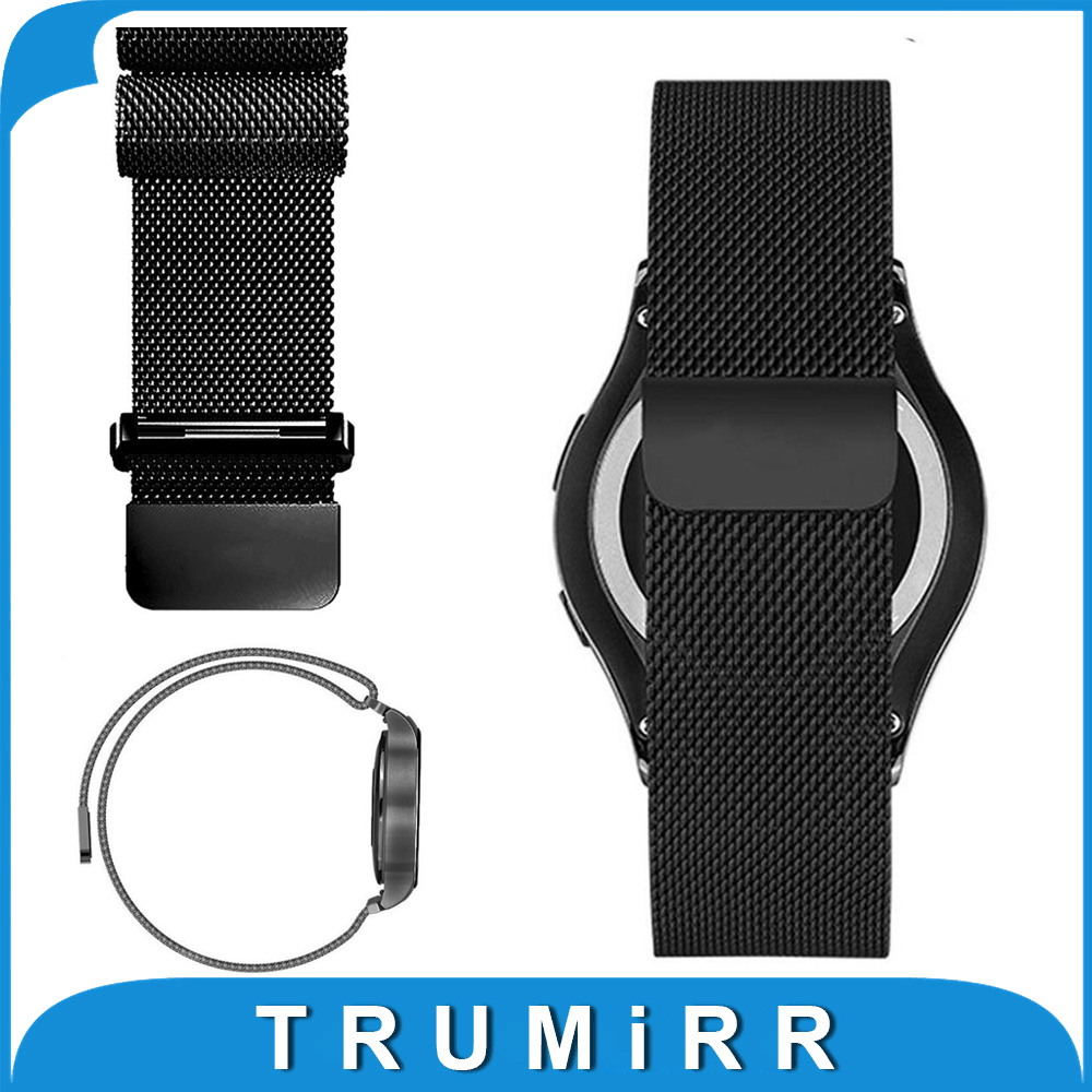 20mm Milanese Loop Watch Band for Samsung Gear S2 Classic R732 R735 Moto 360 2 42mm Men Steel Magnet Strap Wrist Bracelet Black 20mm watch band milanese mesh stainless steel strap bracelet for samsung gear s2 classic sm r7320 moto 360 2 2nd gen 42mm 2015