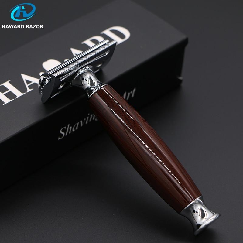 HAWRAD RAZOR Double Edge Safety Razor 1 Deep Wood Handle+Zinc Alloy Head+5 Blades Men's Shaving Razor