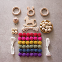 1set Baby Teether Wooden Ring Beads DIY Jewelry Combination Package Crochet Beads Mommy Hands on Pacifier Clip Baby Nursing Gift