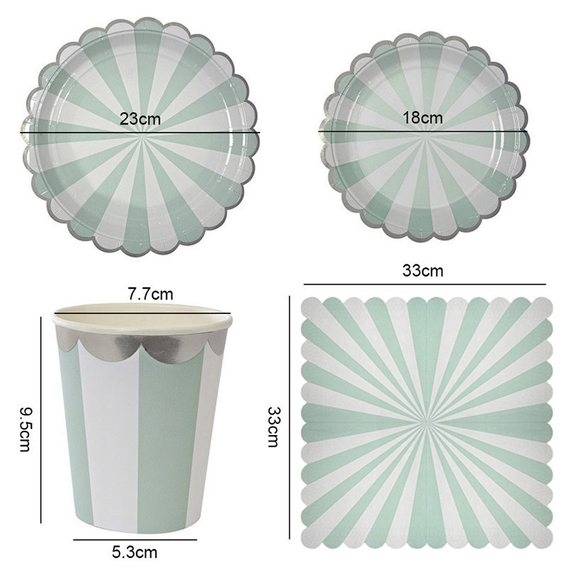 Outdoor Camping Disposable Paper Plates Cups Napkins Straw Kids Party Tableware Sets Kids Birthday Bridal Shower Girls Day Decor