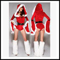 Sexy Rompers Women Red Playsuit Christmas Costumes Hooded Jumpsuit Fashion Belted Ladies Santa Claus Suit Festival Clothing