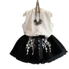 2019 Summer Baby Girls Clothing Sets White Lace T-shirt+Mini Black Ball Gown Dress Kids Girl Summer Clothes Two Pieces Suits